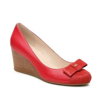 Cole Haan Grand OS Adair Red Leather Suede Wedge